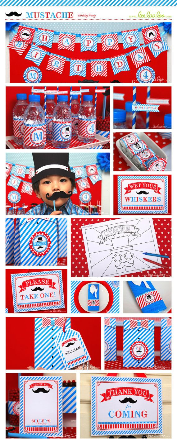 Mustache Bash Little man Birthday Party Package Collection Set Mega Personalized Printable // Mustache - B34Pz2. $39.00, via Etsy.