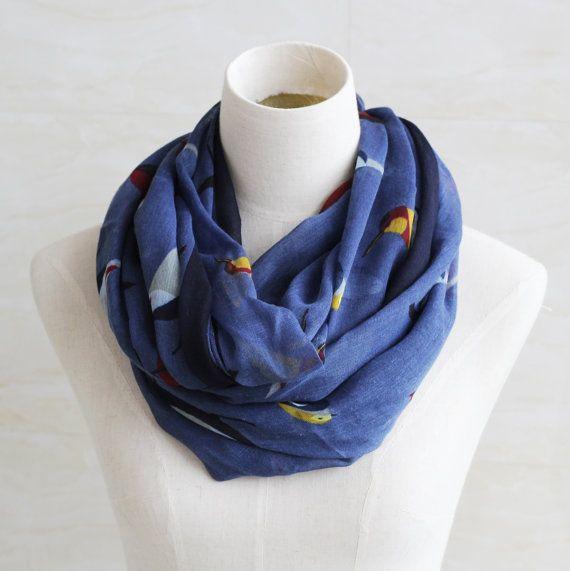 Navy blue vivid birds scarf soft cotton by blackbeanblackbean, $9.99