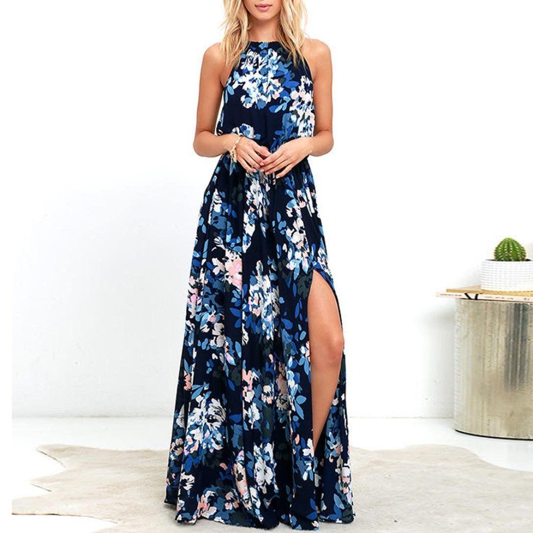 92b59725944 GandKshop Womens Casual Boho Floral Print Sleeveless Side Split Tie Back  Beach Long Maxi Dress M Navy   For more information