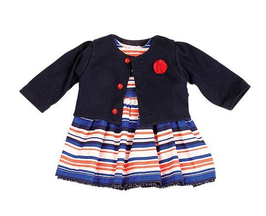 Puppen Kleid und Jacke dunkelblau für 64 cm große Puppen ...