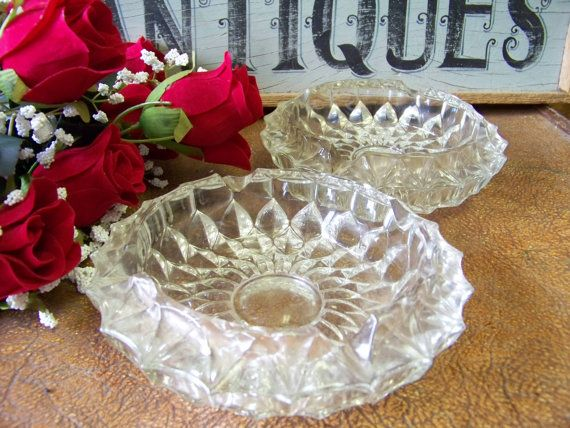 Two Vintage Pressed Glass Cut Glass Ash Trays by tithriftstore