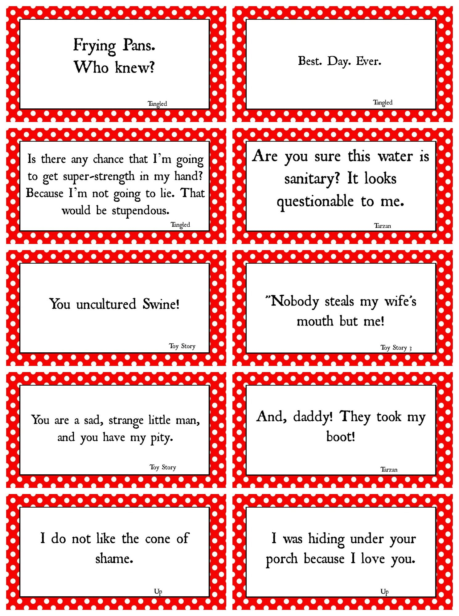 Disney Movie Quotes game with Free Printables | Pinterest | Disney ...