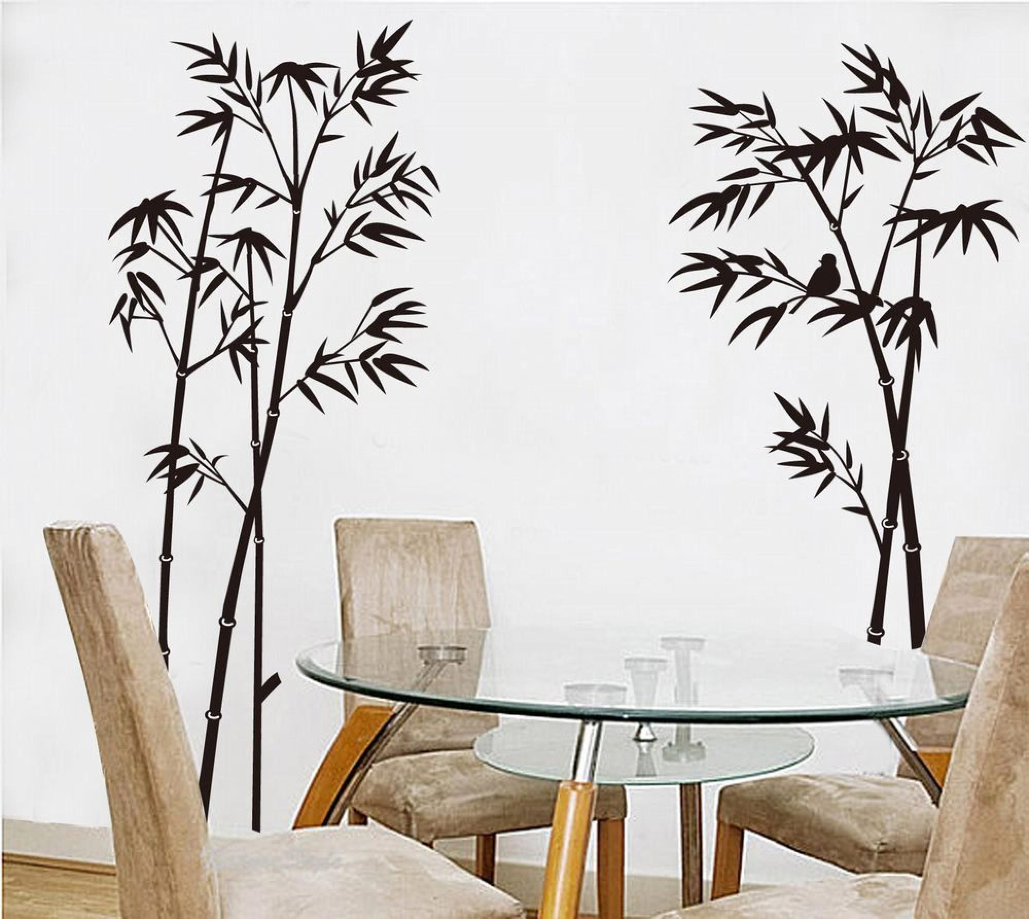 Stunning Bamboo Decorative Vinyl Decal Idea Set On The Wall Beside Round Glass Dining Table Plus Fabric Wall Stickers Home Decor Living Room Decals Vinyl Decor