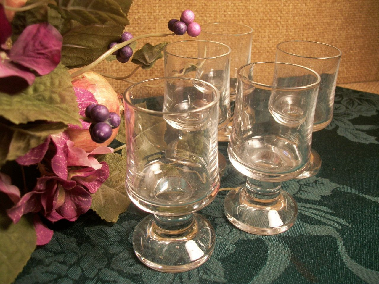 Cordial Glasses Vintage 1970's Bar Ware Art Deco Pedestal Liquoir Aperitif Entertaining Glassware