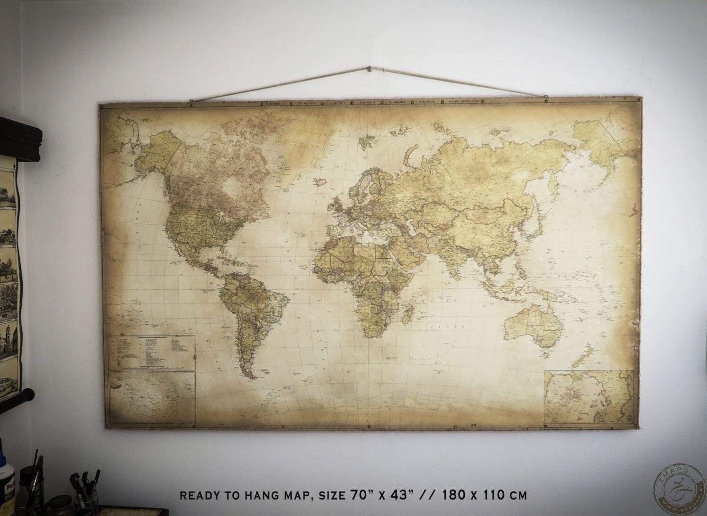 Pull down world map 70x43 180 x