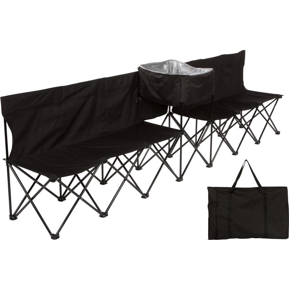 Miraculous Trademark Innovations 10 Ft Black Portable 6 Seater Folding Dailytribune Chair Design For Home Dailytribuneorg
