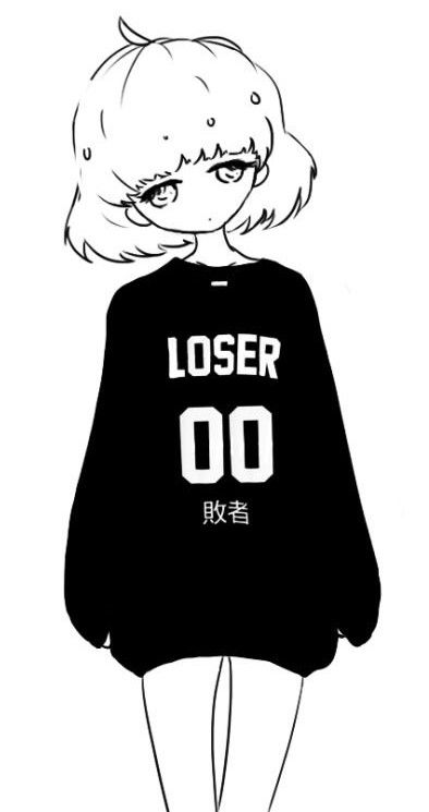 Loser Black And White Kawaii Anime Anime Kawaii Art