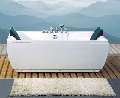 Elegant 71 X 34 Two Person Whirlpool Jetted Bathtub With Dual Head Rests, Bath  Filler,
