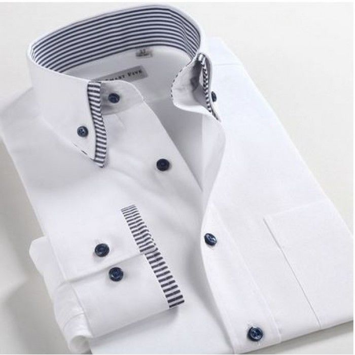 Luxury Mens Casual Double Collar Slim Fit Formal Shirt Italian ...