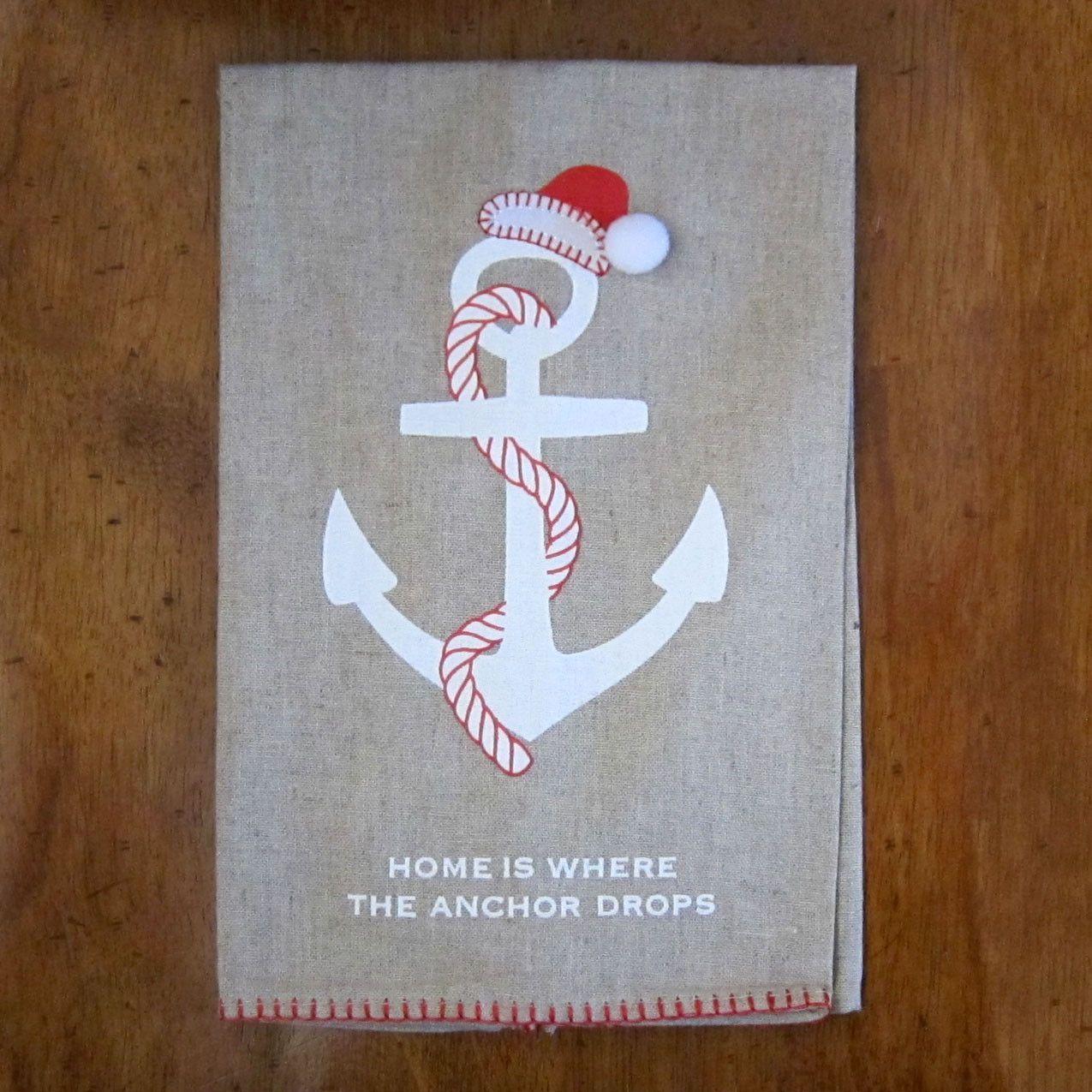 Coastal Christmas Hand Towel Anchor Christmas