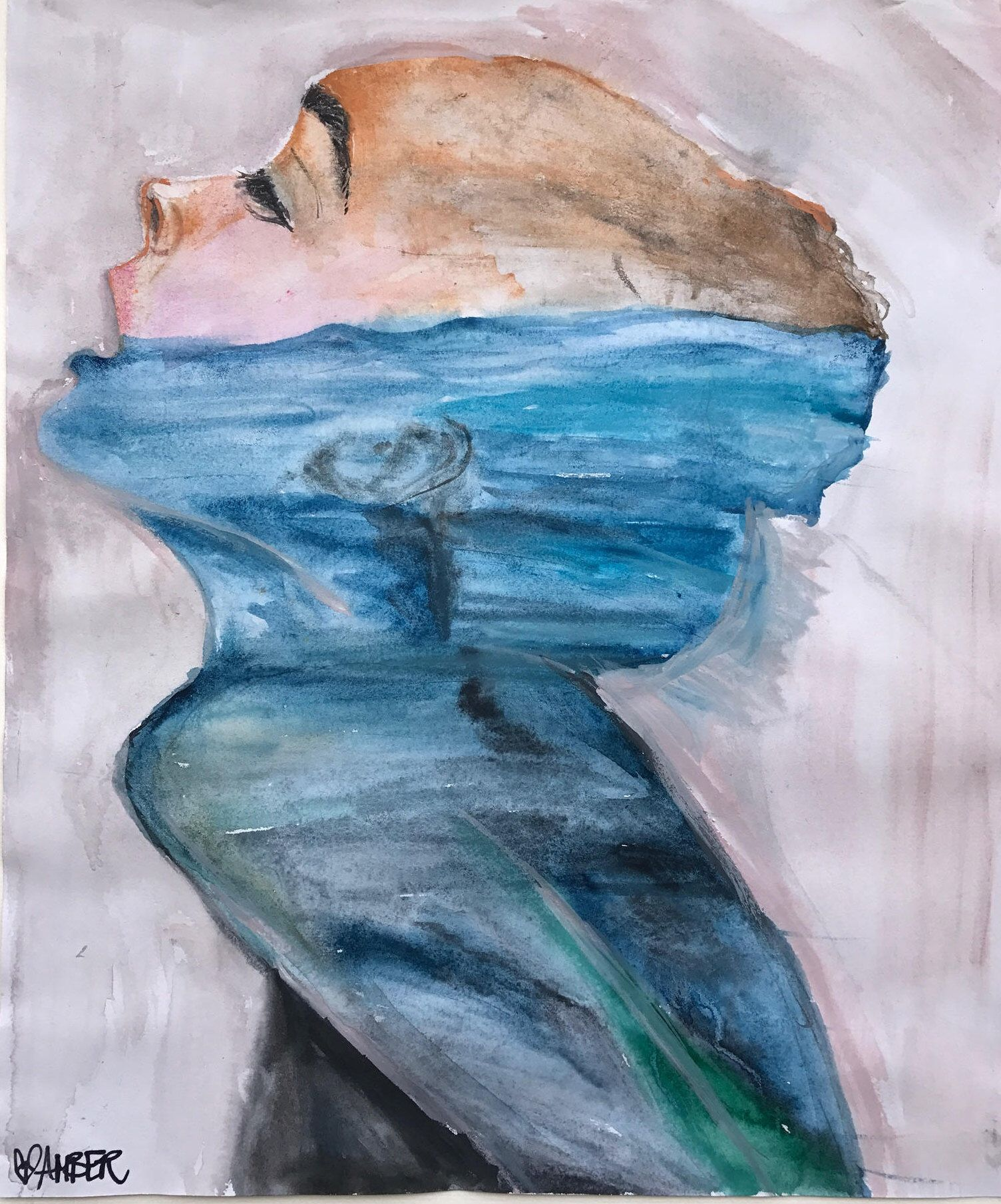 Drowning Help Me By Amber Mclean Watercolor Painting With Feelings