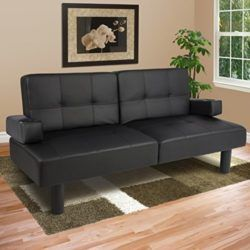 Best Choice Products Leather Faux Fold Down Futon Lounge