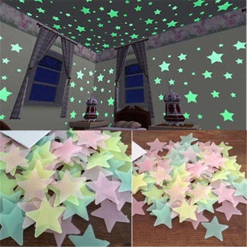 100pcs Luminous Star Stickers Art Decals Wall Door Window Home Decor Accessories