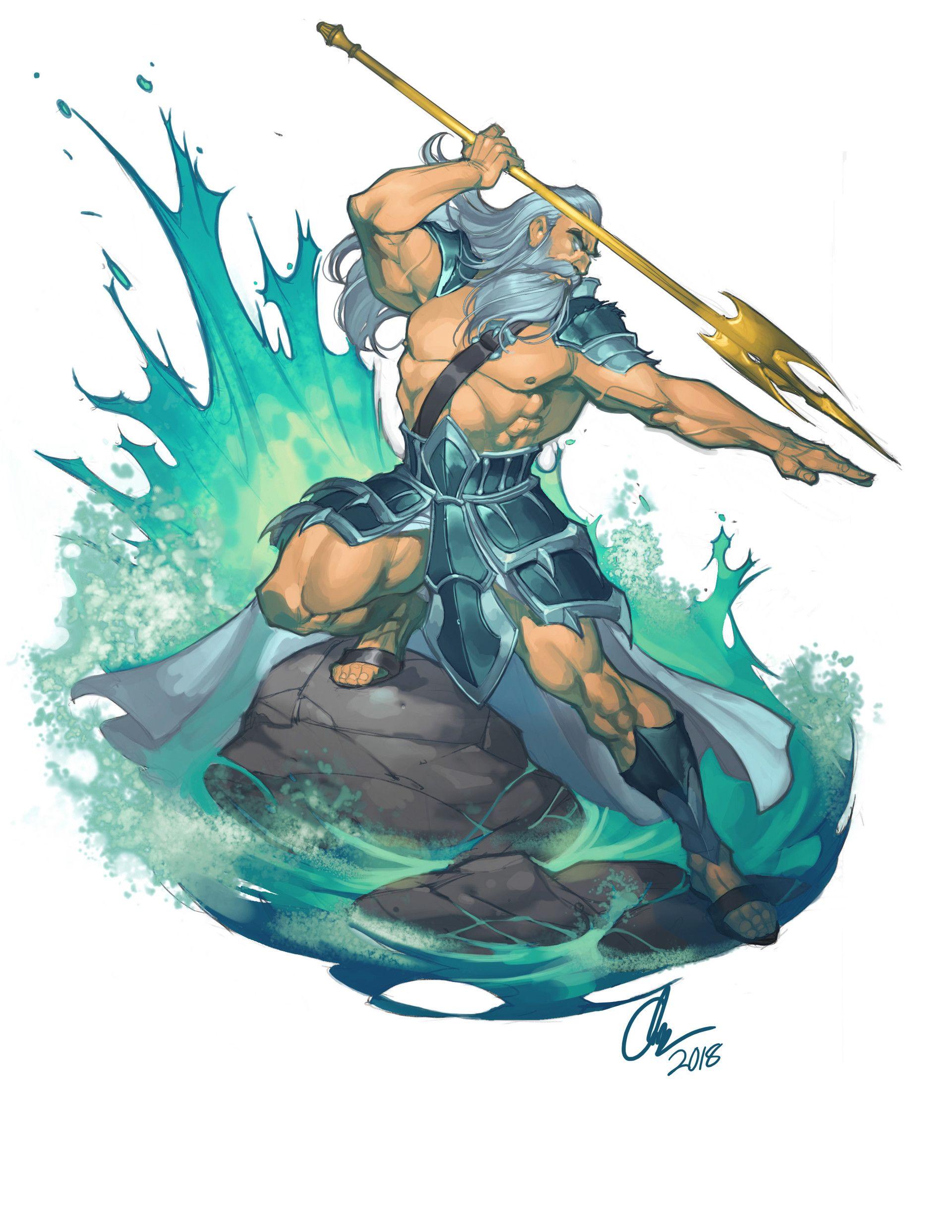 ArtStation - Poseidon , Chuck ART | Greek mythology art ...