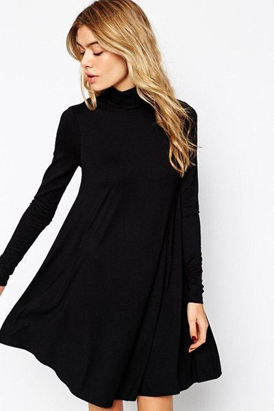 bcb612be444 West Indies Long Sleeve Mock Neck Swing Dress in Black. I have a belt that  would look amazing with this.