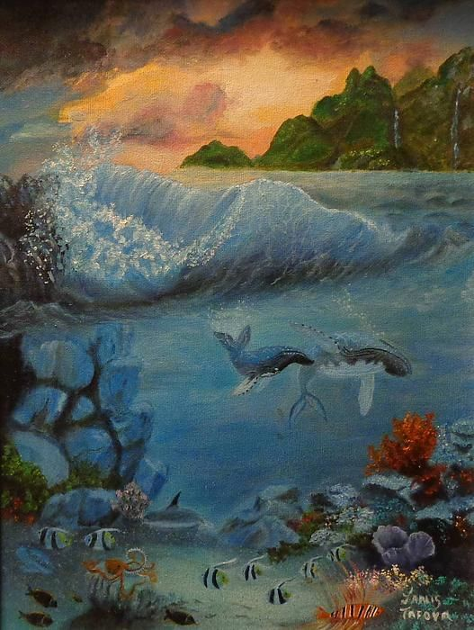 Underwater Scene, an original oil painting by Janis Tafoya,  available as a print at: http://fineartamerica.com/featured/underwater-scene-2-janis-tafoya.html