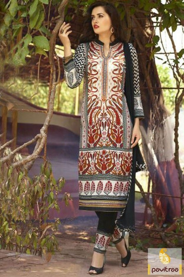 New arrival off white and black color chiffon salwar suit ...