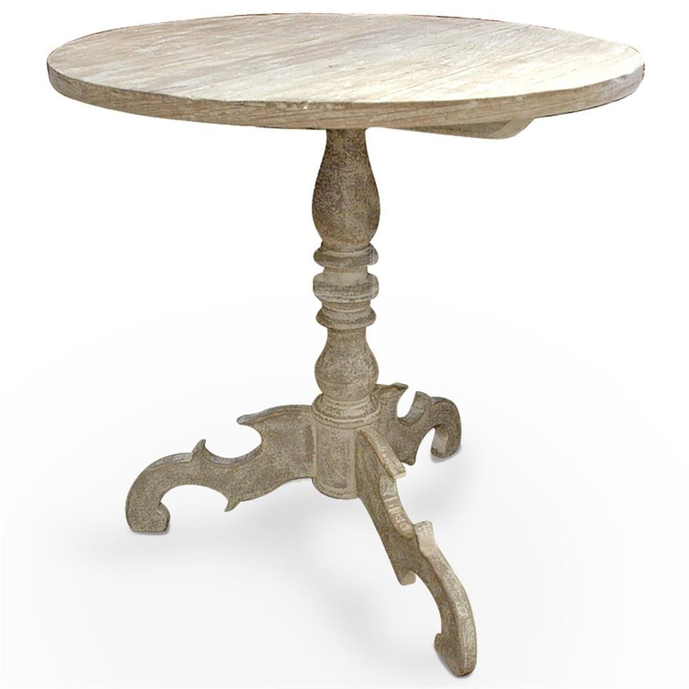 Mireille French Country Distressed White Reclaimed Pine Side End Table | Kathy Kuo Home