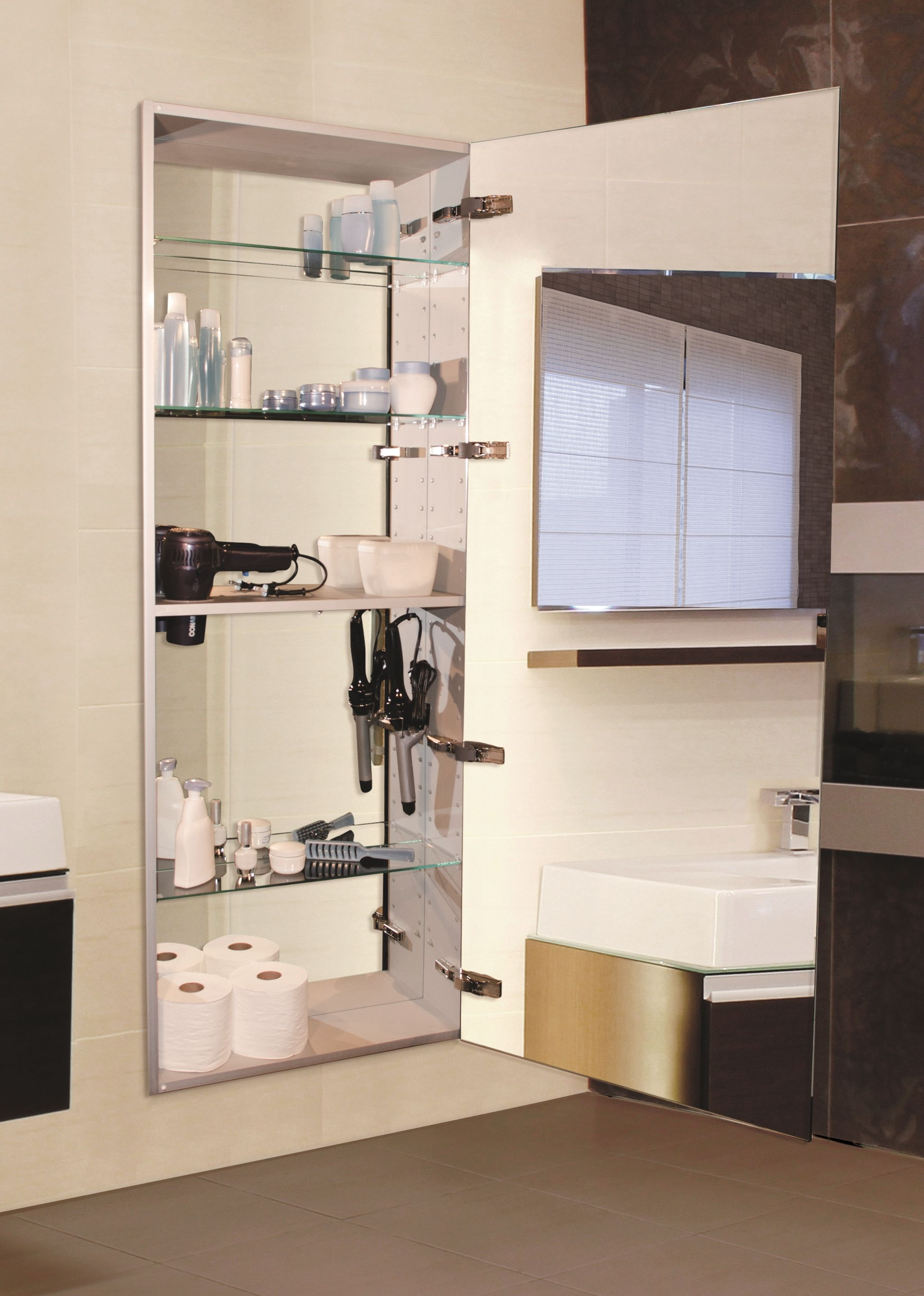 The Sidler Tall Mirror Cabinet Reveals A Styling Shelf When Opening Double Sided 60 Long Full Length Mirrored Doors