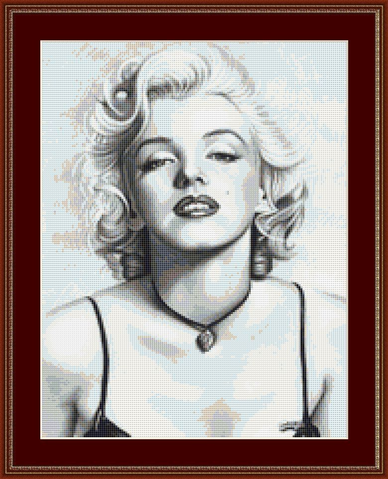 The Face Of Marilyn Munroe Cross Stitch Pattern
