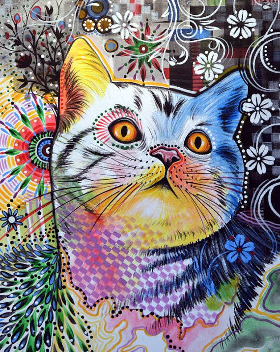 "Bien connu Cat kitty art prnt  Abstract cat Art  Chloe, 8 1/2"" x 11  LY99"