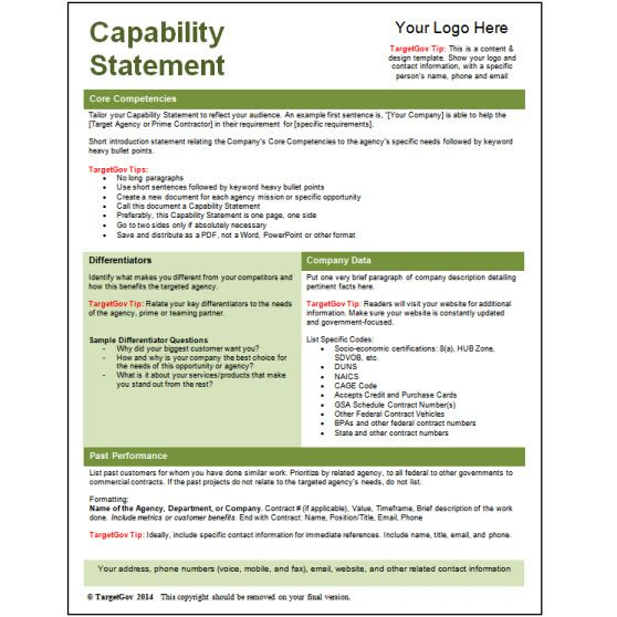 Capability Statement Templates Archives  Targetgov  Business