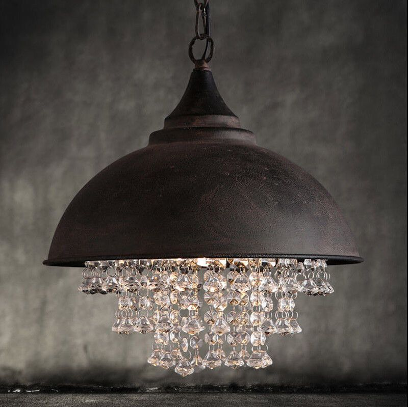 Details About Rustic Vintage Industrial Crystal Pendant Lamp Ceiling Fixture Lights Chandelier Crystal Pendant Lighting Ceiling Lights Rustic Loft