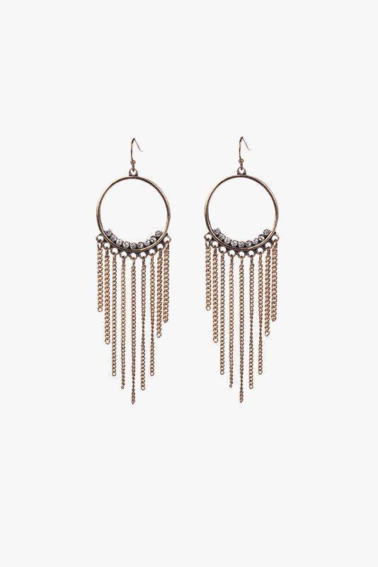 Gold or Silver Hoop Tassle Earrings