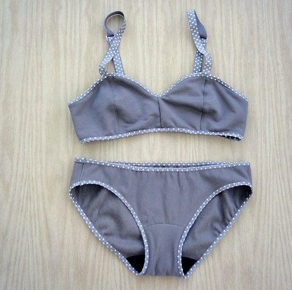 82fb0d628a22 Organic cotton underwear set, warm lingerie set, grey taupe underwear, organic  underwear, organic bra, organic panties, handmade clothes