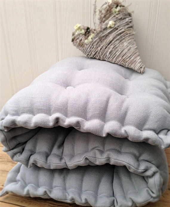 Handmade Linen Seat Pad Cushion Made To Measure Tufted Quilted