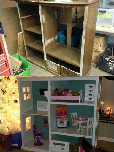 Diy 18 In Dollhouse From Old Entertainment Center Great Gift