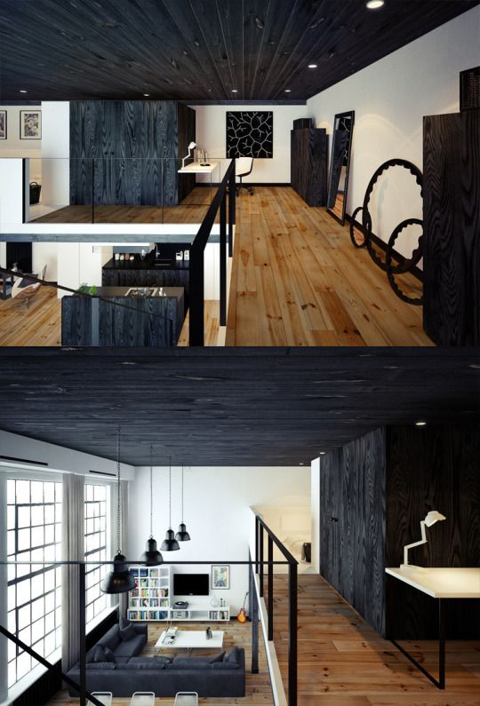 Amazing Charred Wood With The White Walls From Loft Below