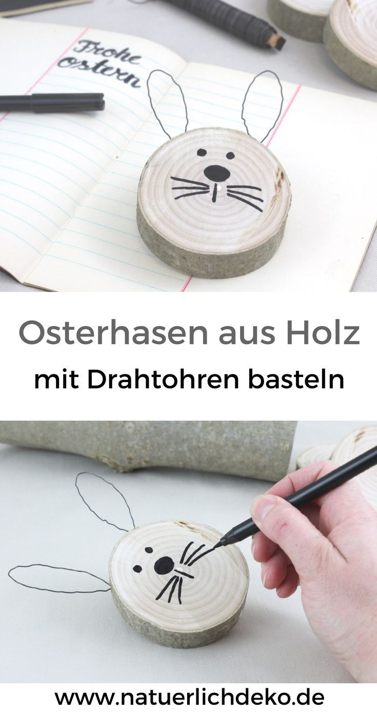 DIY Osterhasen aus Astscheiben - Natürlich Deko