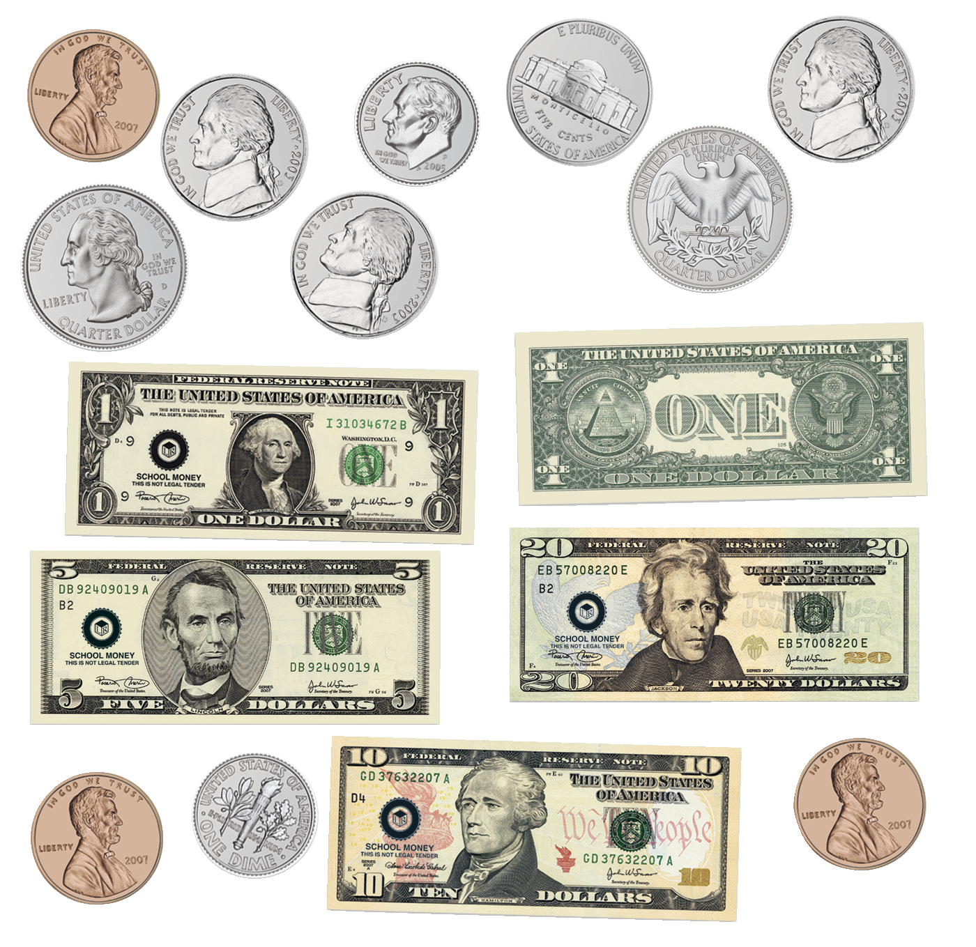Learning Resources Double Sided Magnetic Money 45 Pieces