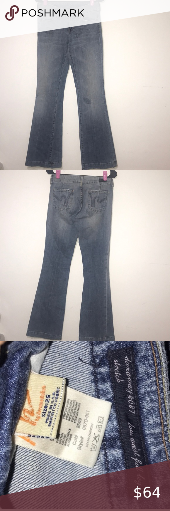 """Citizens of Humanity Dunaway #087 stretch jeans-25 Citizens of Humanity Dunaway #087 stretch  Low rise/full leg/light wash minimal factory distressing throughout and minimal on hem (see pictures)  NWOT Never worn/Tags Removed   Make an offer or bundle to save!  Rise: 7 1/2"""" Hip to Hip: 14"""" Inseam: 34""""  All measurements are approximate and taken as a flat lay Citizens Of Humanity Jeans Flare & Wide Leg"""