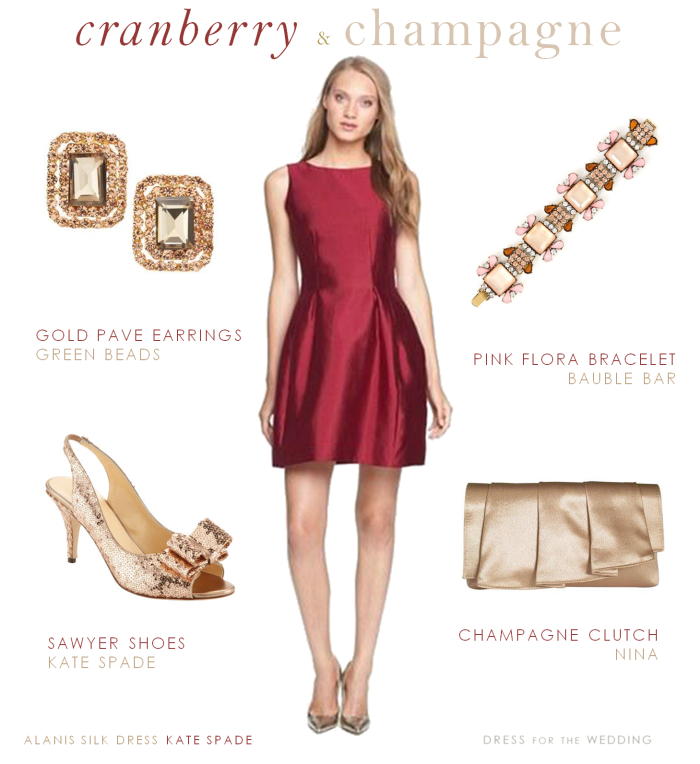ac0c82f58d3 Cranberry Dress and Champagne Accessories
