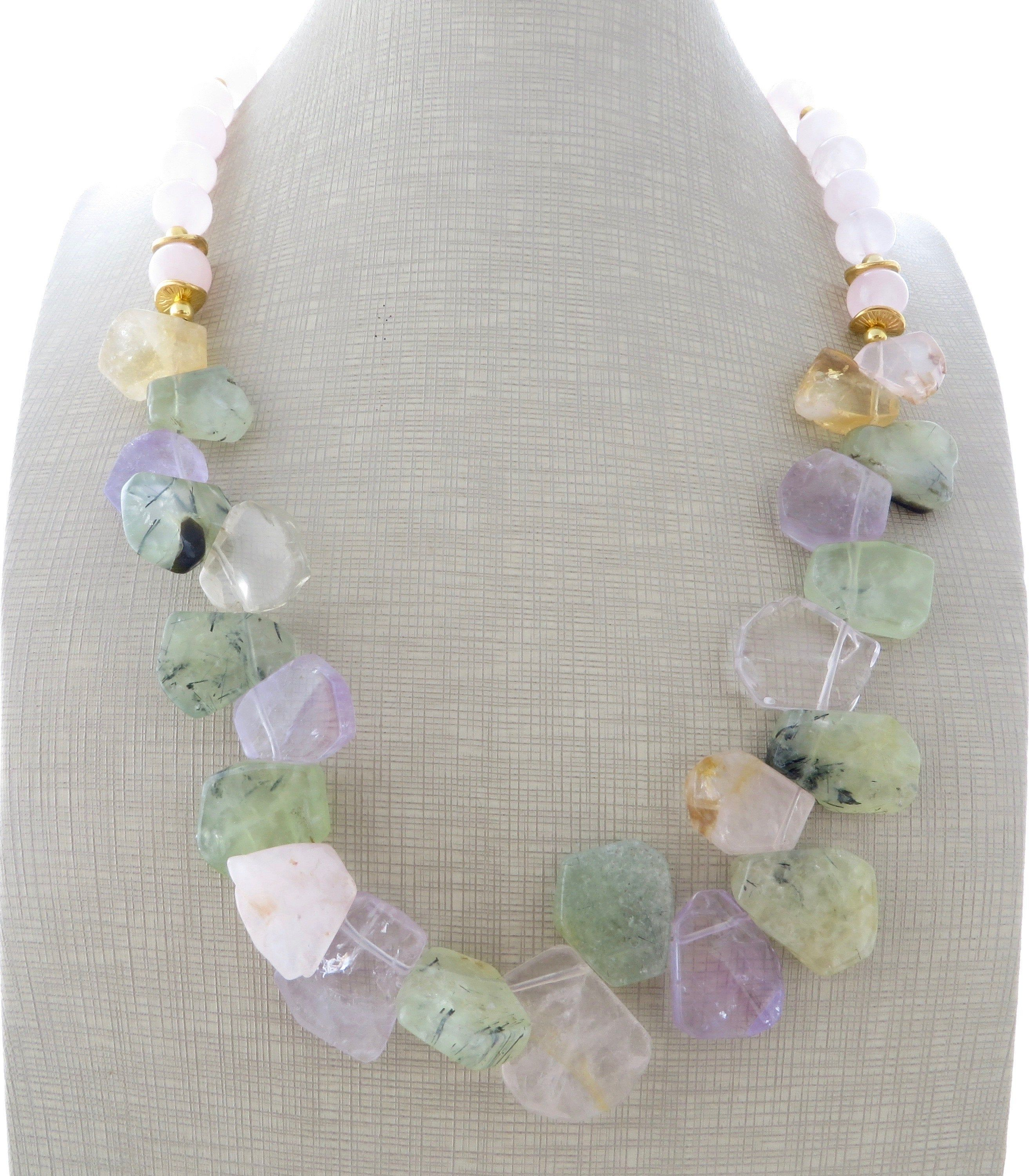 30a7ed65ee17 Green prehnite and citrine necklace