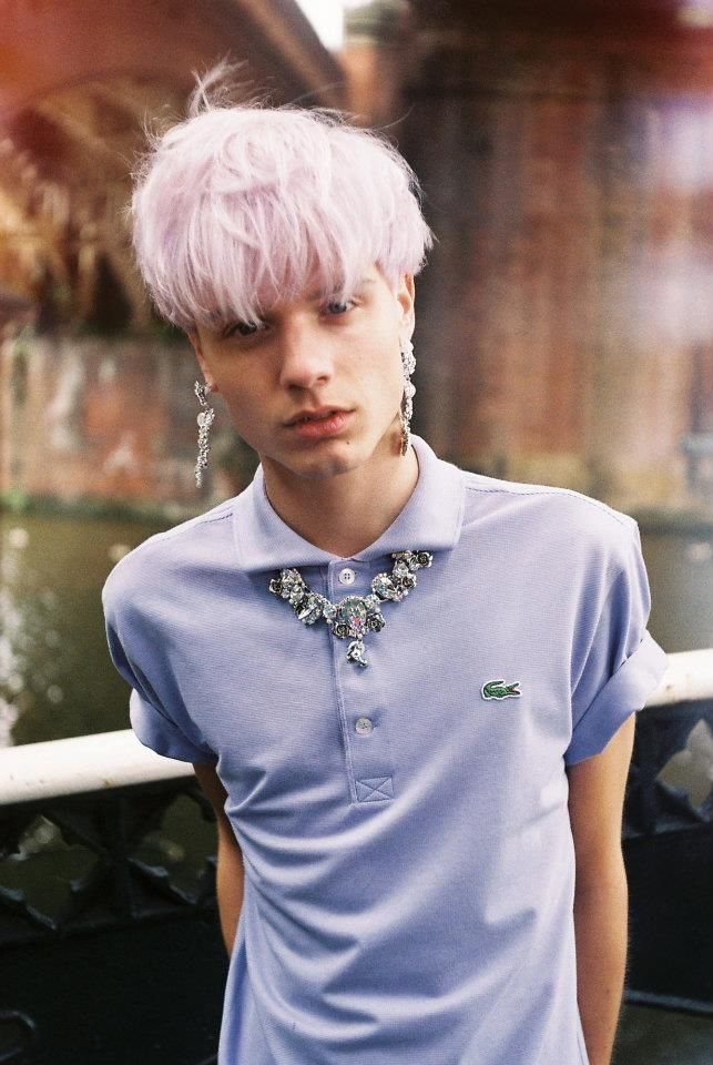 androgyny androgynous male model pale pink pastel colored