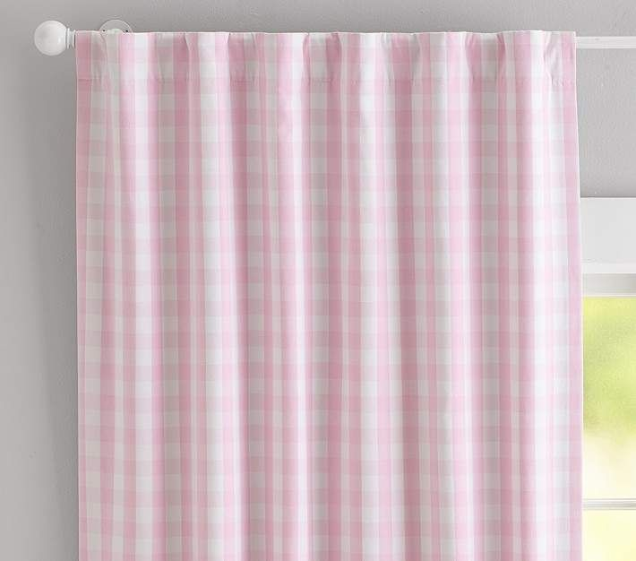 Pottery Barn Pink Paint: Check Curtain, 63 Inches, Light Pink