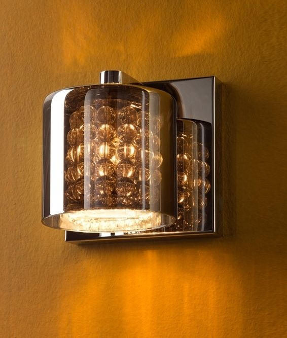 Smoked glass crystal chrome wall light fitzalan road smoked glass crystal chrome wall light aloadofball Image collections