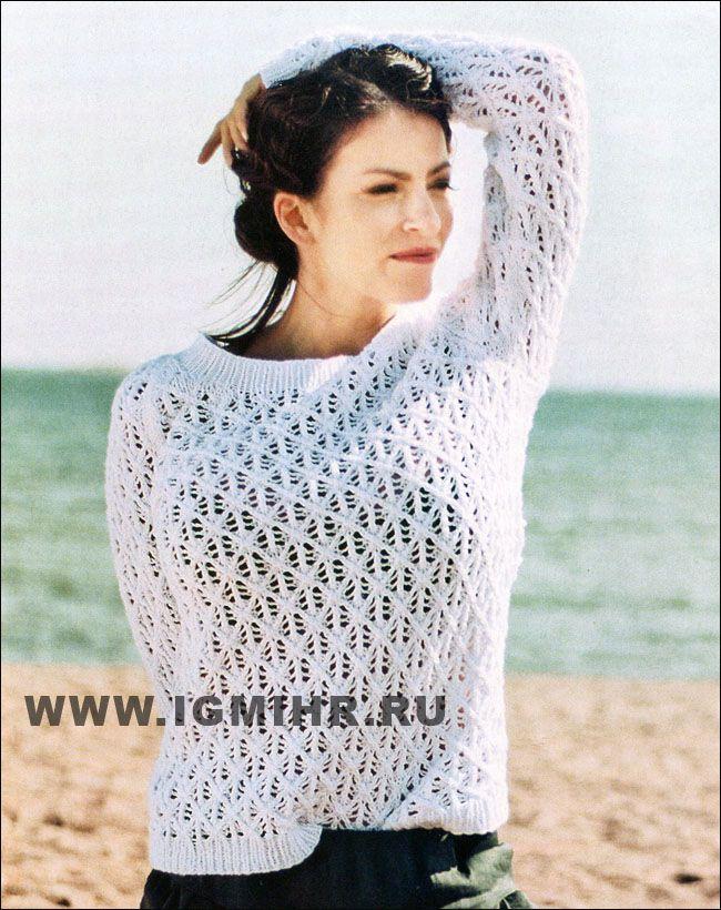 2ff287a38f7 Белый ажурный пуловер-реглан. Спицы