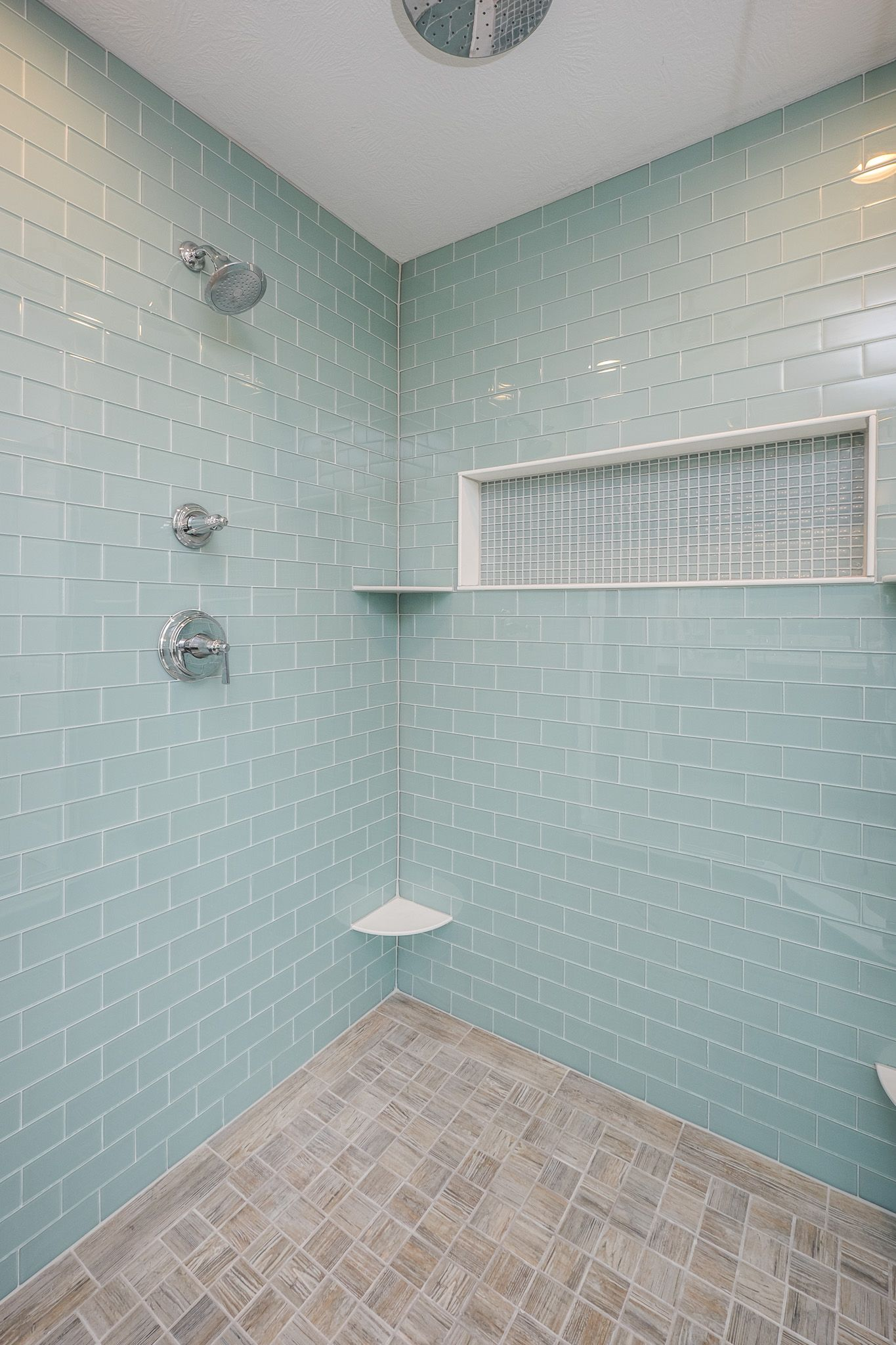 Gorgeous Tile Shower, Two-Tone Tile, Niche for Shampoo Bottles ...