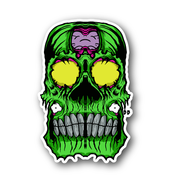 Scary green skull sticker vinyl stickers marijuana stickers clear stickers