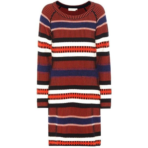 Tory Burch Monterey Knitted Sweater Dress (£345) ❤ liked on Polyvore featuring dresses, multicoloured, colorful dresses, tory burch, multi colored dress, tory burch dresses and red sweater dress