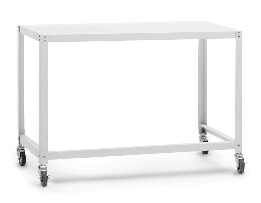 City bureau en fer sur roulettes 110cm blanc bureaux meubles