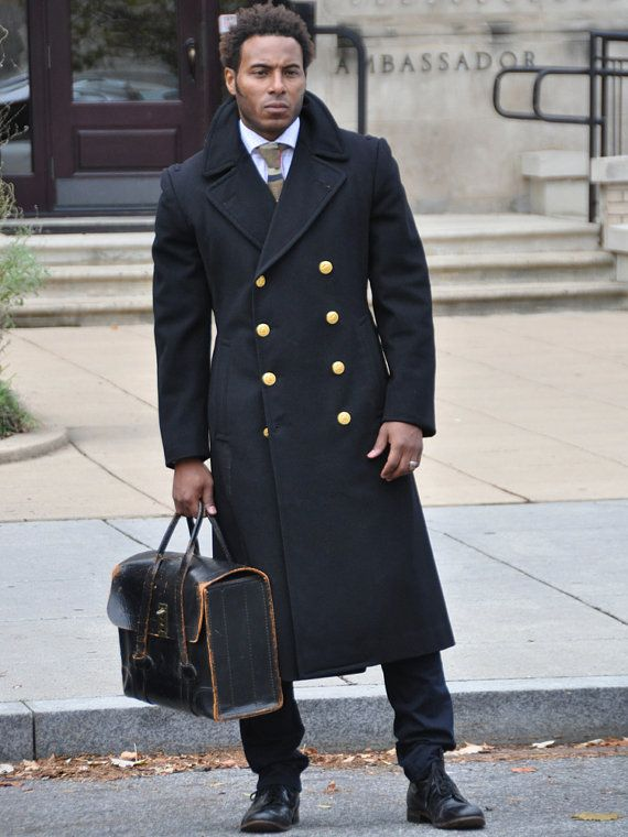 Reserved for Nina - Long Authentic Navy Pea Coat with Gold Buttons ...