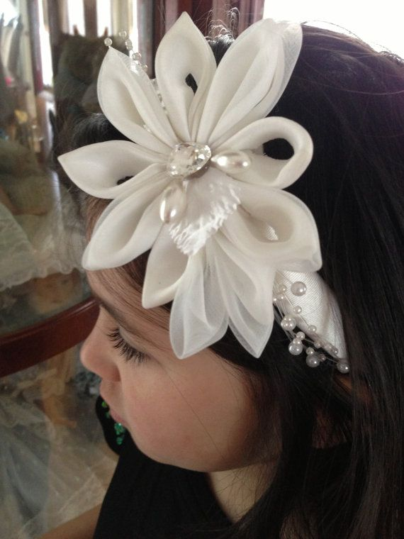 first communion white pearls headband  bridal fancy by 3BusyBirds, $18.00