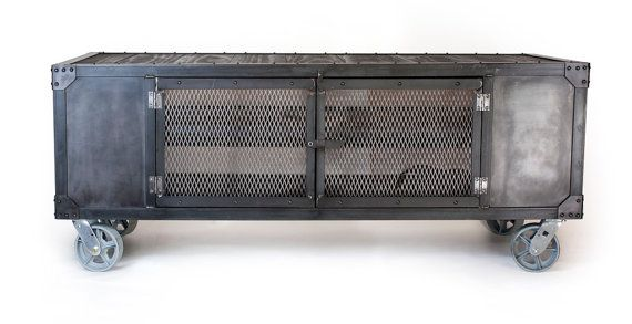 industrial rolling media cabinet tv stand on casters console table center occasional table barliquor cart
