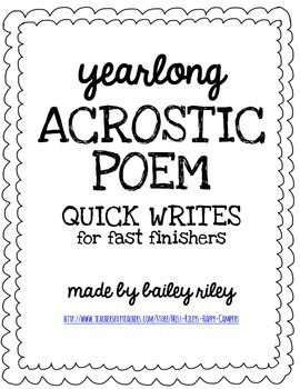 {yearlong} Acrostic Poem Quick Writes for Fast Finishers