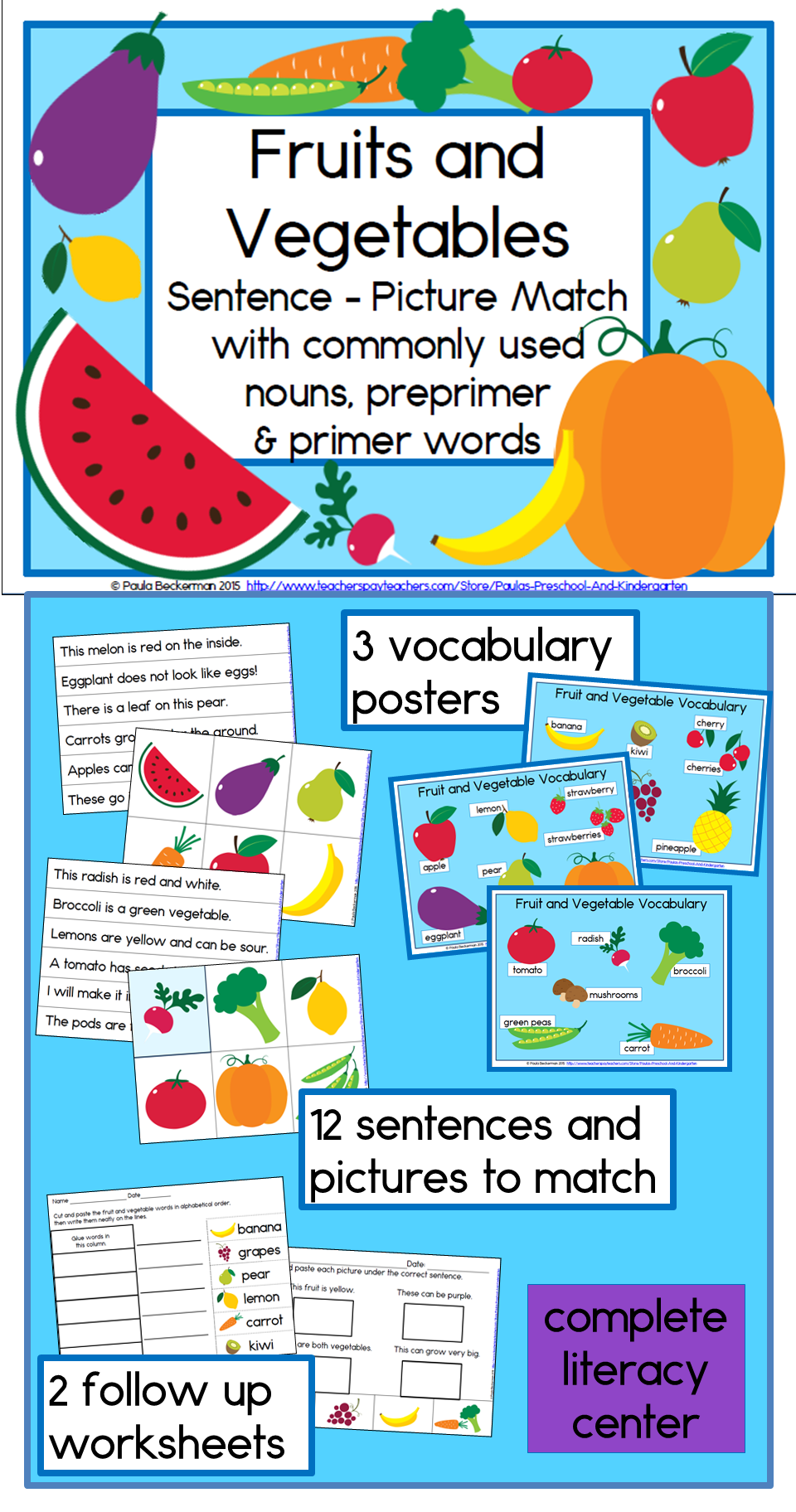 Fruits and Vegetables Sentence-Picture Match Reading Center ...